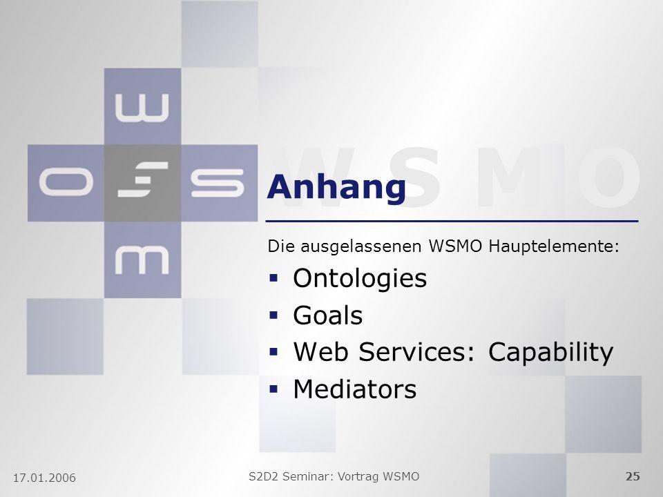 W S M O S2D2 Seminar: Vortrag WSMO25 17.01.2006 Anhang Die ausgelassenen WSMO Hauptelemente: Ontologies Goals Web Services: Capability Mediators
