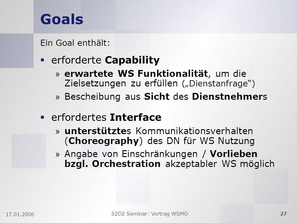 S2D2 Seminar: Vortrag WSMO27 17.01.2006 Goals Ein Goal enthält: erforderte Capability » erwartete WS Funktionalität, um die Zielsetzungen zu erfüllen (Dienstanfrage) » Bescheibung aus Sicht des Dienstnehmers erfordertes Interface » unterstütztes Kommunikationsverhalten (Choreography) des DN für WS Nutzung » Angabe von Einschränkungen / Vorlieben bzgl.
