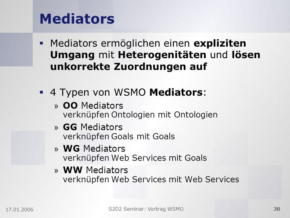 S2D2 Seminar: Vortrag WSMO30 17.01.2006 Mediators Mediators ermöglichen einen expliziten Umgang mit Heterogenitäten und lösen unkorrekte Zuordnungen auf 4 Typen von WSMO Mediators: » OO Mediators verknüpfen Ontologien mit Ontologien » GG Mediators verknüpfen Goals mit Goals » WG Mediators verknüpfen Web Services mit Goals » WW Mediators verknüpfen Web Services mit Web Services