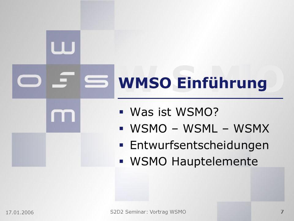 W S M O S2D2 Seminar: Vortrag WSMO7 17.01.2006 WMSO Einführung Was ist WSMO? WSMO – WSML – WSMX Entwurfsentscheidungen WSMO Hauptelemente