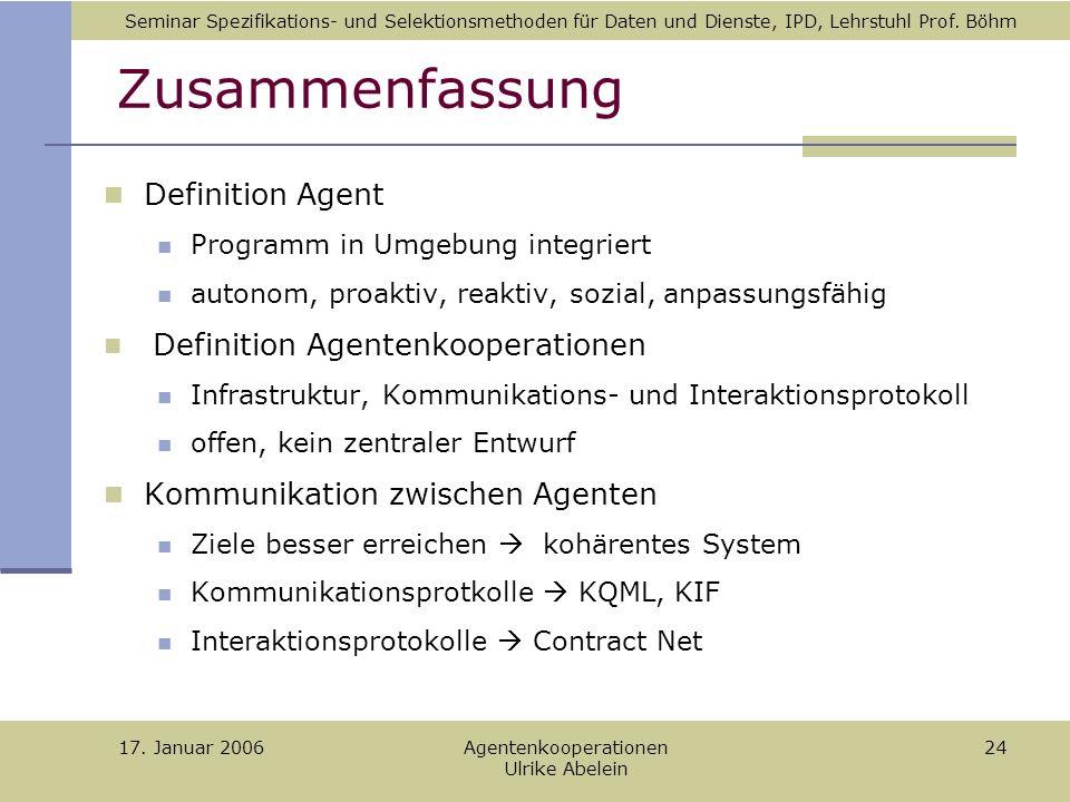 Seminar Spezifikations- und Selektionsmethoden für Daten und Dienste, IPD, Lehrstuhl Prof.