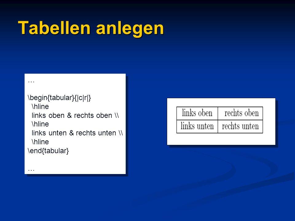 Tabellen anlegen … \begin{tabular}{|c|r|} \hline links oben & rechts oben \\ \hline links unten & rechts unten \\ \hline \end{tabular} … \begin{tabula