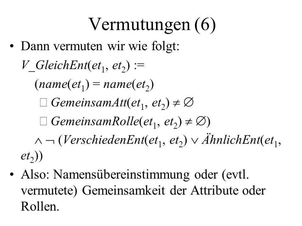 Vermutungen (6) Dann vermuten wir wie folgt: V_GleichEnt(et 1, et 2 ) := (name(et 1 ) = name(et 2 ) GemeinsamAtt(et 1, et 2 ) GemeinsamRolle(et 1, et 2 ) ) (VerschiedenEnt(et 1, et 2 ) ÄhnlichEnt(et 1, et 2 )) Also: Namensübereinstimmung oder (evtl.