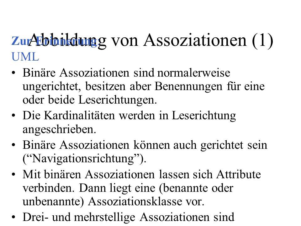Abbildung von Assoziationen (1) Zur Erinnerung: UML Binäre Assoziationen sind normalerweise ungerichtet, besitzen aber Benennungen für eine oder beide Leserichtungen.