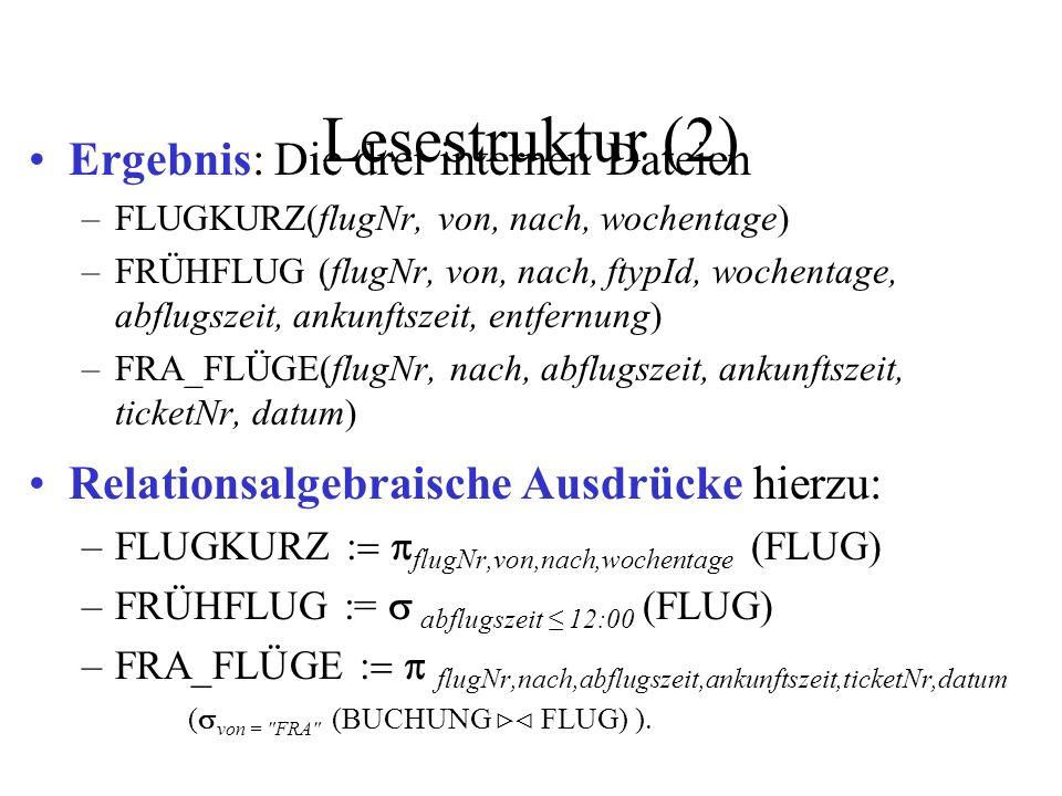 Lesestruktur (2) Ergebnis: Die drei internen Dateien –FLUGKURZ(flugNr, von, nach, wochentage) –FRÜHFLUG (flugNr, von, nach, ftypId, wochentage, abflugszeit, ankunftszeit, entfernung) –FRA_FLÜGE(flugNr, nach, abflugszeit, ankunftszeit, ticketNr, datum) Relationsalgebraische Ausdrücke hierzu: –FLUGKURZ flugNr,von,nach,wochentage (FLUG) –FRÜHFLUG := abflugszeit 12:00 (FLUG) –FRA_FLÜGE flugNr,nach,abflugszeit,ankunftszeit,ticketNr,datum ( von = FRA (BUCHUNG FLUG) )