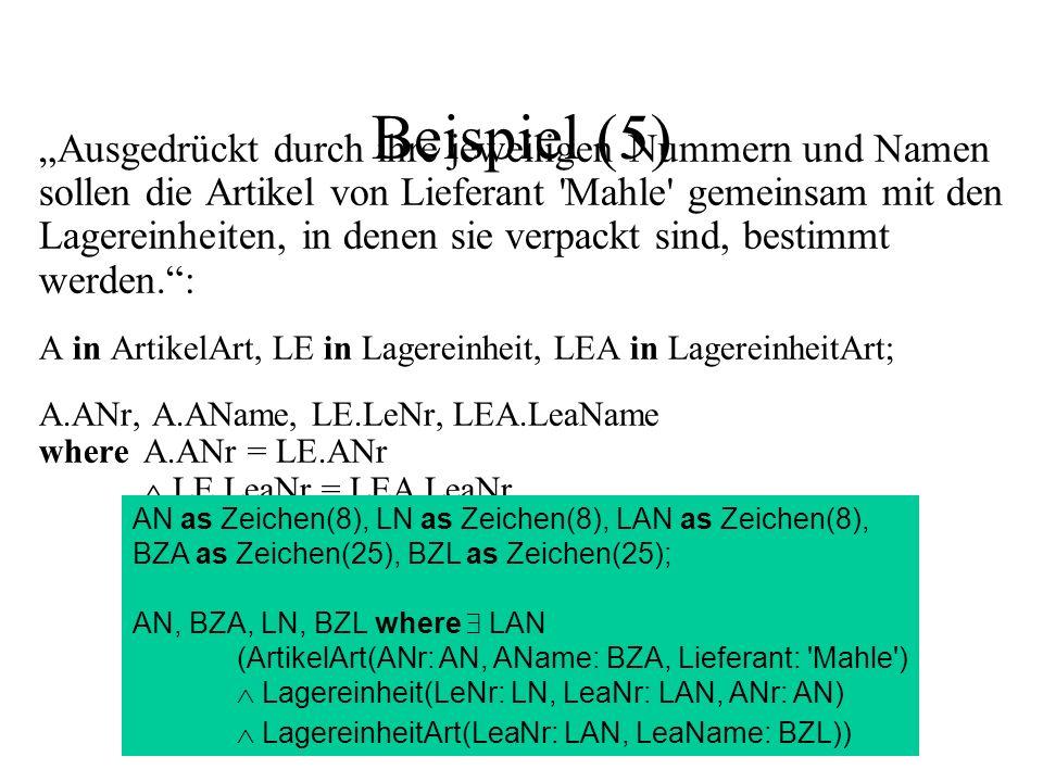 Beispiel (5) Ausgedrückt durch ihre jeweiligen Nummern und Namen sollen die Artikel von Lieferant Mahle gemeinsam mit den Lagereinheiten, in denen sie verpackt sind, bestimmt werden.: A in ArtikelArt, LE in Lagereinheit, LEA in LagereinheitArt; A.ANr, A.AName, LE.LeNr, LEA.LeaName whereA.ANr = LE.ANr LE.LeaNr = LEA.LeaNr A.Lieferant = Mahle AN as Zeichen(8), LN as Zeichen(8), LAN as Zeichen(8), BZA as Zeichen(25), BZL as Zeichen(25); AN, BZA, LN, BZL where LAN (ArtikelArt(ANr: AN, AName: BZA, Lieferant: Mahle ) Lagereinheit(LeNr: LN, LeaNr: LAN, ANr: AN) LagereinheitArt(LeaNr: LAN, LeaName: BZL))