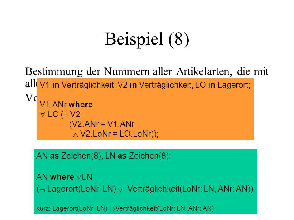 Beispiel (8) Bestimmung der Nummern aller Artikelarten, die mit allen Lagerorten verträglich sind: Verträglichkeit LoNr (Lagerort) V1 in Verträglichkeit, V2 in Verträglichkeit, LO in Lagerort; V1.ANr where LO ( V2 (V2.ANr = V1.ANr V2.LoNr = LO.LoNr)); AN as Zeichen(8), LN as Zeichen(8); AN where LN ( Lagerort(LoNr: LN) Verträglichkeit(LoNr: LN, ANr: AN)) kurz: Lagerort(LoNr: LN) Verträglichkeit(LoNr: LN, ANr: AN)