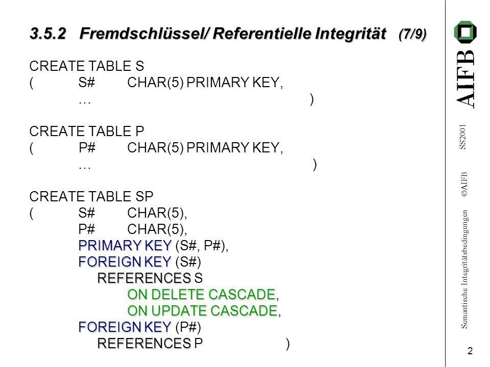 Semantische Integritätsbedingungen AIFB SS2001 3 3.5.2 Fremdschlüssel/ Referentielle Integrität (8/9) 1.INSERT INTO SP (S#, P#, QTY) VALUES (S20, P12, 32) zum Beispiel3.1(s.27) Fehlende Referenz S20 in S Einfügen verweigert 2.