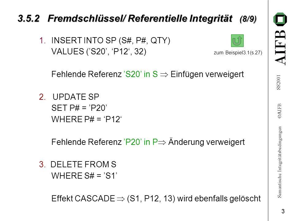 Semantische Integritätsbedingungen AIFB SS2001 4 3.5.2 Fremdschlüssel/ Referentielle Integrität (9/9) 4.