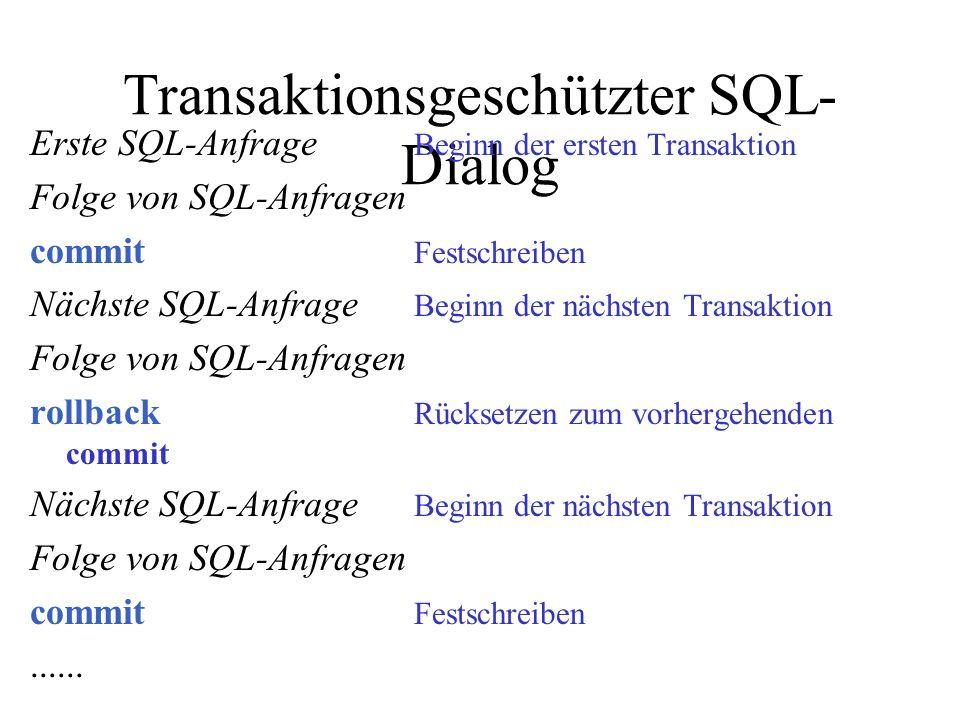 Transaktionsgeschützter SQL- Dialog Erste SQL-Anfrage Beginn der ersten Transaktion Folge von SQL-Anfragen commit Festschreiben Nächste SQL-Anfrage Beginn der nächsten Transaktion Folge von SQL-Anfragen rollback Rücksetzen zum vorhergehenden commit Nächste SQL-Anfrage Beginn der nächsten Transaktion Folge von SQL-Anfragen commit Festschreiben......