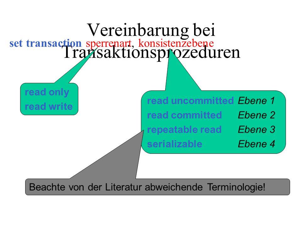 Vereinbarung bei Transaktionsprozeduren set transaction sperrenart, konsistenzebene read only read write read uncommittedEbene 1 read committedEbene 2