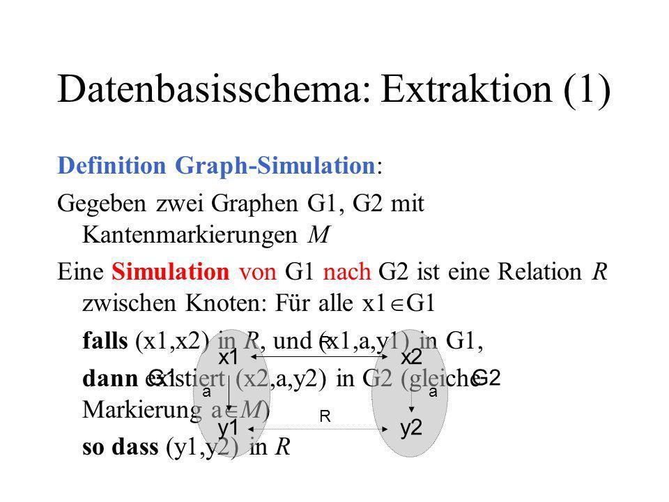 Datenbasisschema: Extraktion (1) Definition Graph-Simulation: Gegeben zwei Graphen G1, G2 mit Kantenmarkierungen M Eine Simulation von G1 nach G2 ist eine Relation R zwischen Knoten: Für alle x1 G1 falls (x1,x2) in R, und (x1,a,y1) in G1, dann existiert (x2,a,y2) in G2 (gleiche Markierung a M) so dass (y1,y2) in R x1x2 a R G1G2 y1 a R y2