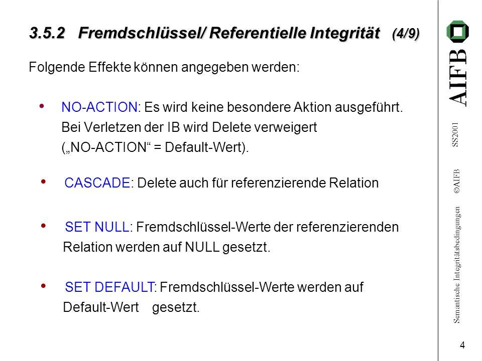 Semantische Integritätsbedingungen AIFB SS2001 4 3.5.2 Fremdschlüssel/ Referentielle Integrität (4/9) Folgende Effekte können angegeben werden: NO-ACT