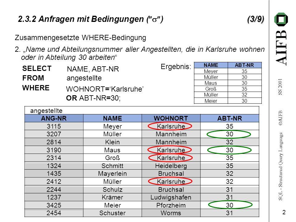 SQL - Structured Query Language AIFB SS 2001 2 (3/9) 2.3.2 Anfragen mit Bedingungen ( )(3/9) angestellte ANG-NRNAMEWOHNORTABT-NR 3115 MeyerKarlsruhe35 3207 MüllerMannheim30 2814 KleinMannheim32 3190 MausKarlsruhe30 2314 GroßKarlsruhe35 1324 SchmittHeidelberg35 1435 MayerleinBruchsal32 2412 MüllerKarlsruhe32 2244 SchulzBruchsal31 1237 KrämerLudwigshafen31 3425 MeierPforzheim30 2454 SchusterWorms31 NAMEABT-NR Meyer35 Müller30 Maus30 Groß35 Müller32 Meier30 Zusammengesetzte WHERE-Bedingung 2.