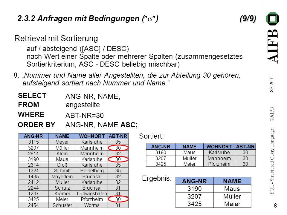 SQL - Structured Query Language AIFB SS 2001 8 ANG-NRNAMEWOHNORTABT-NR 3190MausKarlsruhe30 3207MüllerMannheim30 3425MeierPforzheim30 (9/9) 2.3.2 Anfragen mit Bedingungen ( )(9/9) 8.