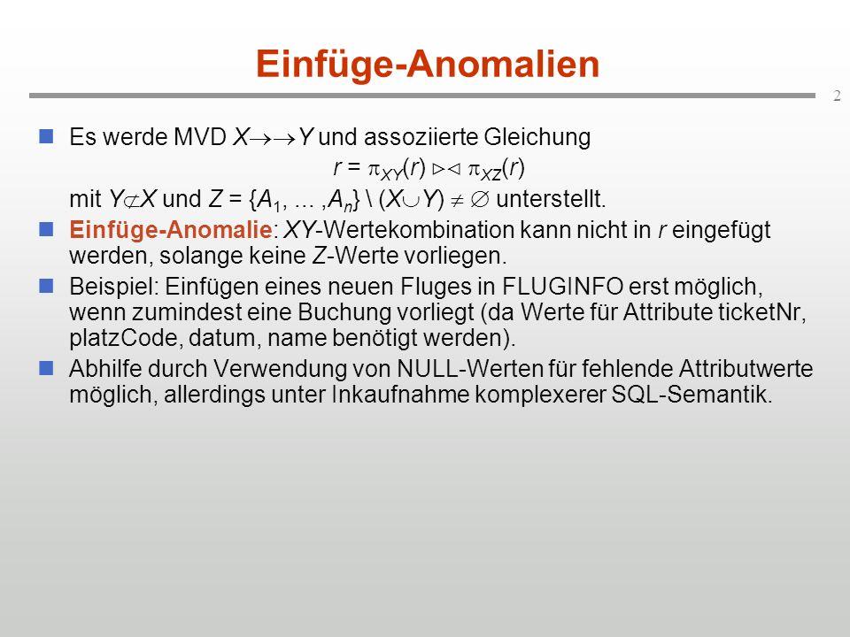2 Einfüge-Anomalien Es werde MVD X Y und assoziierte Gleichung r = XY (r) XZ (r) mit Y X und Z = {A 1,...,A n } \ (X Y) unterstellt. Einfüge-Anomalie: