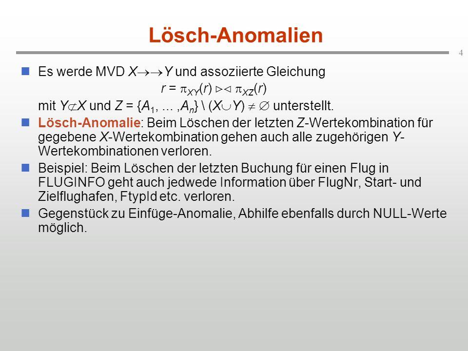 4 Lösch-Anomalien Es werde MVD X Y und assoziierte Gleichung r = XY (r) XZ (r) mit Y X und Z = {A 1,...,A n } \ (X Y) unterstellt. Lösch-Anomalie: Bei
