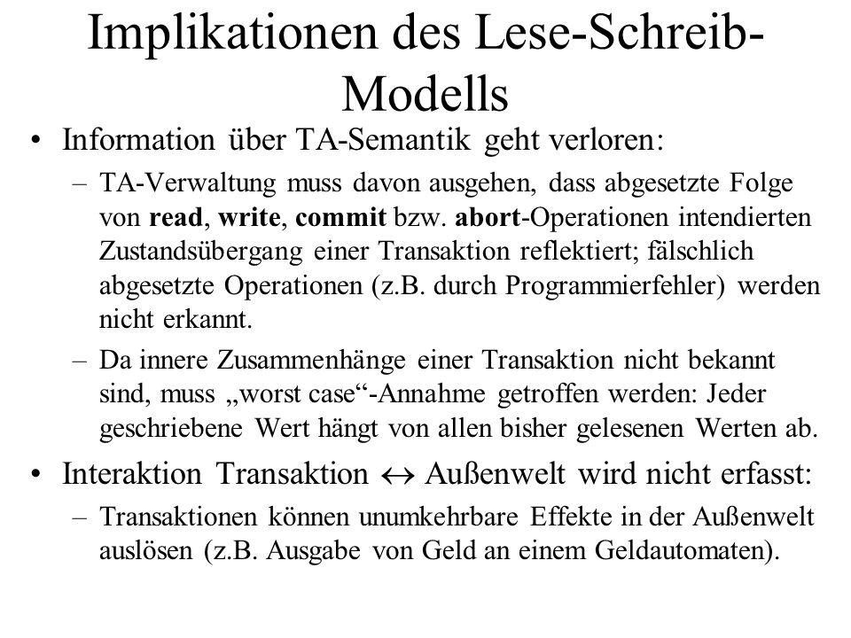 Implikationen des Lese-Schreib- Modells Information über TA-Semantik geht verloren: –TA-Verwaltung muss davon ausgehen, dass abgesetzte Folge von read, write, commit bzw.