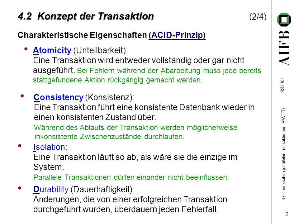 Synchronisation paralleler Transaktionen AIFB SS2001 2 4.2 Konzept der Transaktion 4.2 Konzept der Transaktion (2/4) Charakteristische Eigenschaften (ACID-Prinzip) Atomicity (Unteilbarkeit): Eine Transaktion wird entweder vollständig oder gar nicht ausgeführt.