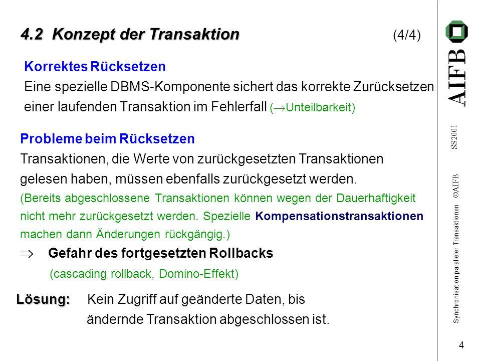 Synchronisation paralleler Transaktionen AIFB SS2001 4 4.2 Konzept der Transaktion 4.2 Konzept der Transaktion (4/4) Korrektes Rücksetzen Eine spezielle DBMS-Komponente sichert das korrekte Zurücksetzen einer laufenden Transaktion im Fehlerfall ( Unteilbarkeit) Probleme beim Rücksetzen Transaktionen, die Werte von zurückgesetzten Transaktionen gelesen haben, müssen ebenfalls zurückgesetzt werden.