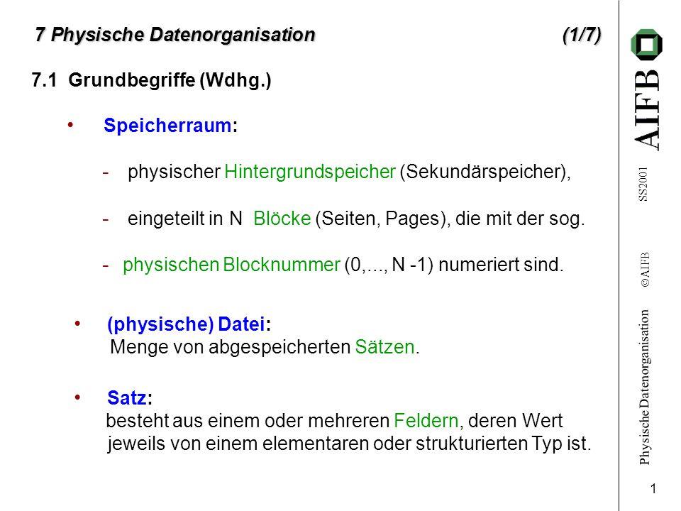 Physische Datenorganisation Ó AIFB SS2001 2 7.1 Grundbegriffe (Wdhg.) (2/7) Schlüssel: geeignete Feldkombination, die Sätze einer Datei eindeutig identifiziert.