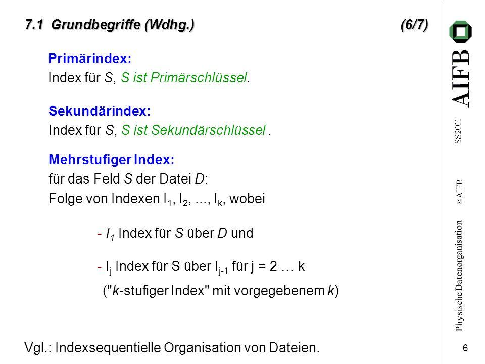 Physische Datenorganisation Ó AIFB SS2001 6 7.1 Grundbegriffe (Wdhg.) (6/7) Sekundärindex: Index für S, S ist Sekundärschlüssel. Mehrstufiger Index: f