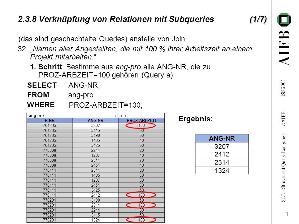 SQL - Structured Query Language AIFB SS 2001 2 angestellte (#=n) ANG-NRNAMEWOHNORTABT-NR 3115 MeyerKarlsruhe35 3207 MüllerMannheim30 2814 KleinMannheim32 3190 MausKarlsruhe30 2314 GroßKarlsruhe35 1324 SchmittHeidelberg35 1435 MayerleinBruchsal32 2412 MüllerKarlsruhe32 2244 SchulzBruchsal31 1237 KrämerLudwigshafen31 3425 MeierPforzheim30 2454 SchusterWorms31 (2/7) 2.3.8 Verknüpfung von Relationen mit Subqueries (2/7) 2.