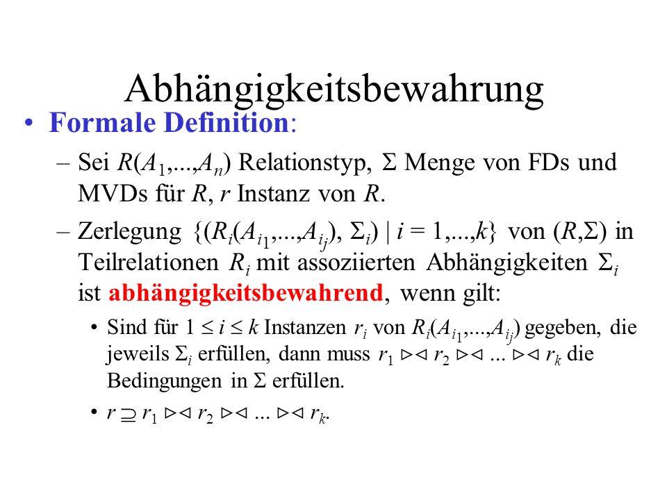 Abhängigkeitsbewahrung Formale Definition: –Sei R(A 1,...,A n ) Relationstyp, Menge von FDs und MVDs für R, r Instanz von R. –Zerlegung {(R i (A i 1,.