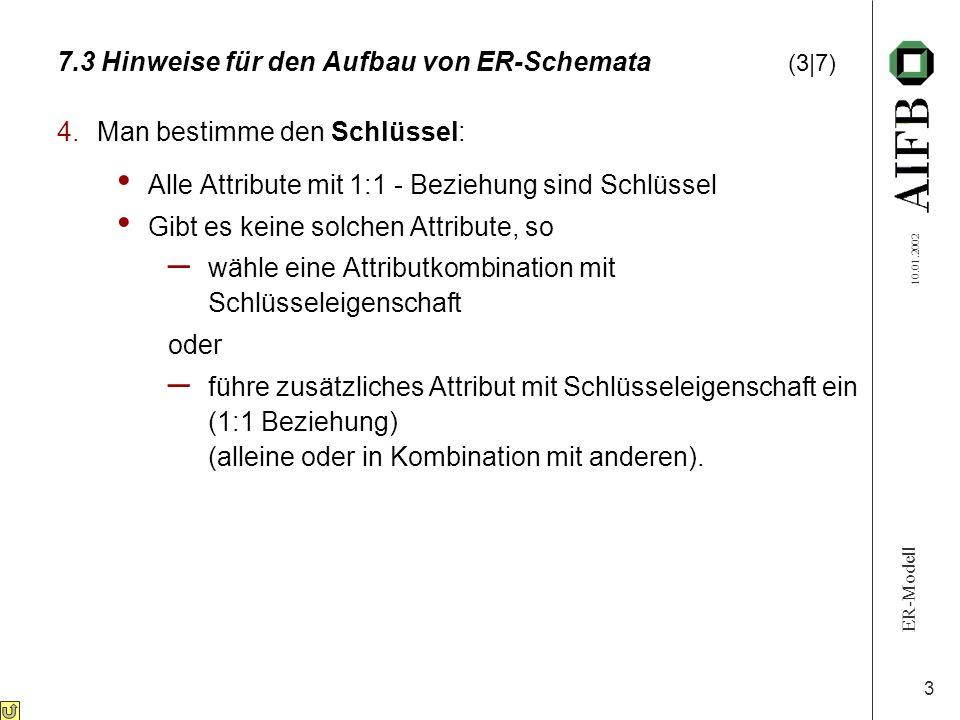 ER-Modell 10.01.2002 3 7.3 Hinweise für den Aufbau von ER-Schemata (3|7) 4.Man bestimme den Schlüssel: Alle Attribute mit 1:1 - Beziehung sind Schlüss