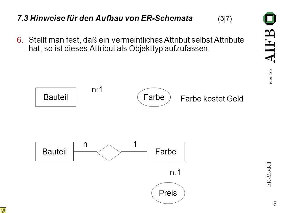 ER-Modell 10.01.2002 5 7.3 Hinweise für den Aufbau von ER-Schemata (5|7) 6.Stellt man fest, daß ein vermeintliches Attribut selbst Attribute hat, so i