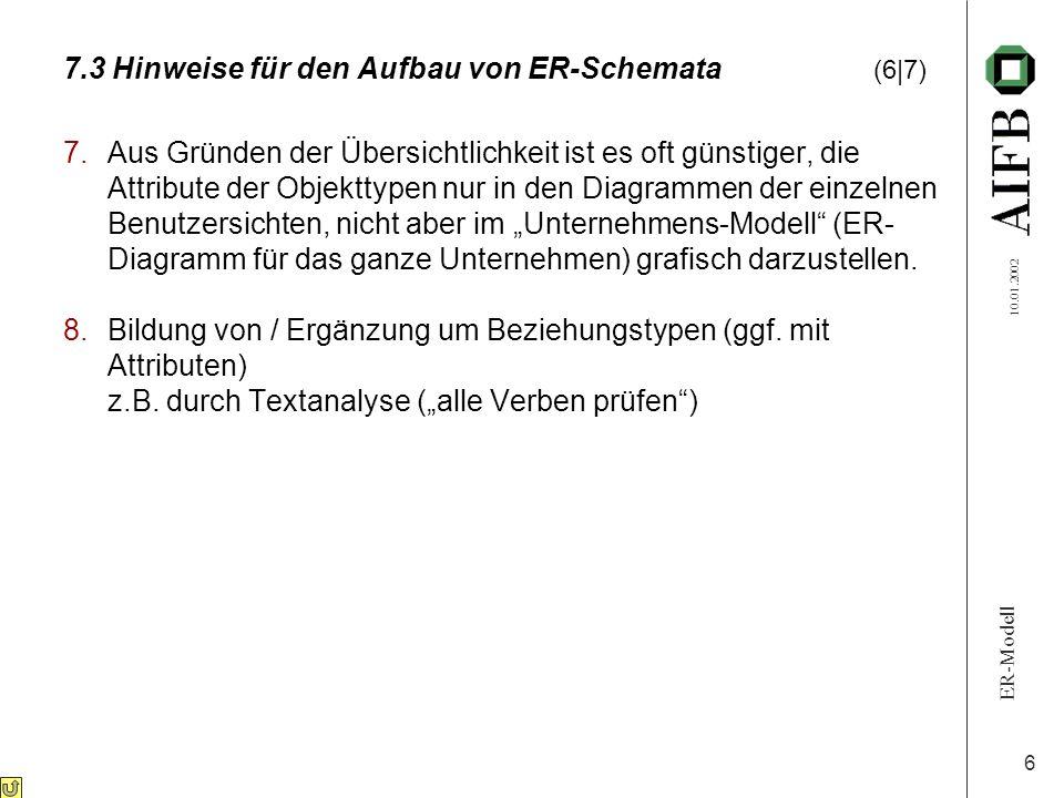 ER-Modell 10.01.2002 6 7.3 Hinweise für den Aufbau von ER-Schemata (6|7) 7.Aus Gründen der Übersichtlichkeit ist es oft günstiger, die Attribute der O