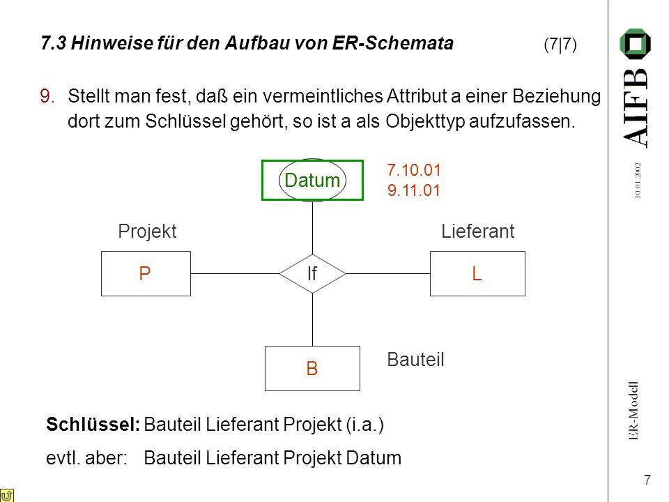 ER-Modell 10.01.2002 7 7.3 Hinweise für den Aufbau von ER-Schemata (7|7) 9.Stellt man fest, daß ein vermeintliches Attribut a einer Beziehung dort zum