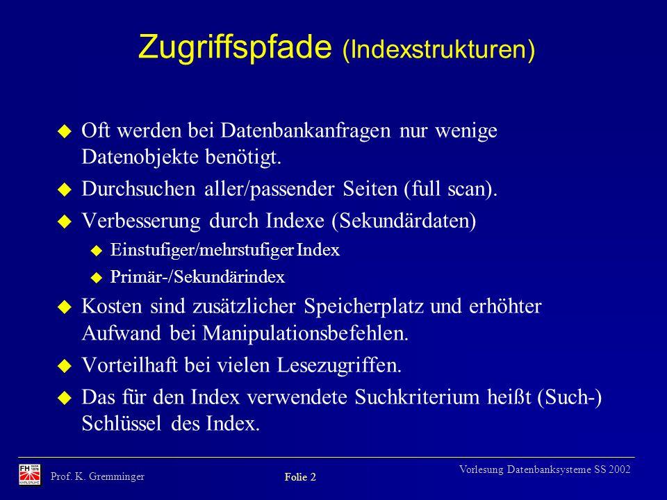 Prof. K. Gremminger Folie 2 Vorlesung Datenbanksysteme SS 2002 Zugriffspfade (Indexstrukturen) u Oft werden bei Datenbankanfragen nur wenige Datenobje
