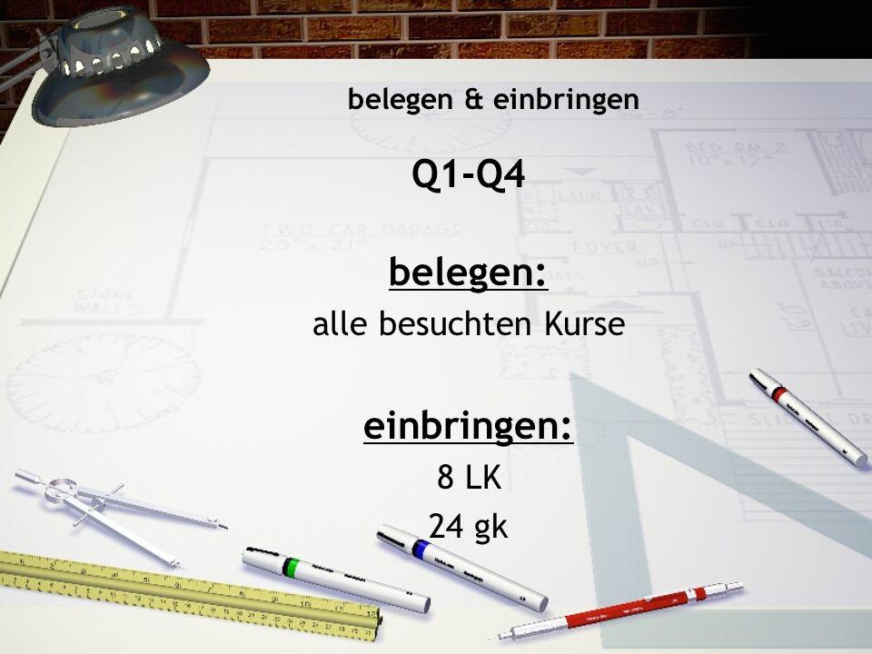 belegen & einbringen Q1-Q4 belegen: alle besuchten Kurse einbringen: 8 LK 24 gk