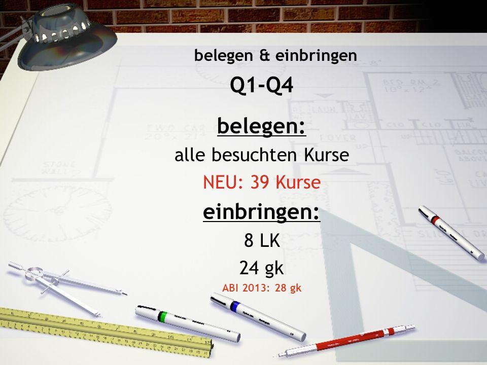 belegen & einbringen Q1-Q4 belegen: alle besuchten Kurse NEU: 39 Kurse einbringen: 8 LK 24 gk ABI 2013: 28 gk