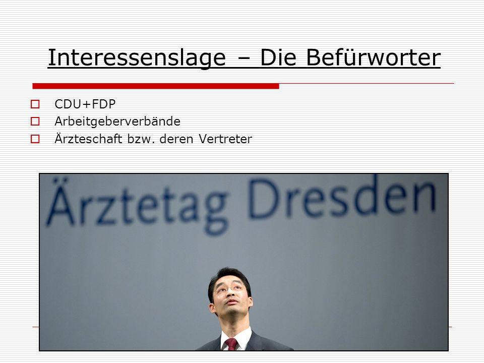 Interessenslage – Die Befürworter CDU+FDP Arbeitgeberverbände Ärzteschaft bzw. deren Vertreter