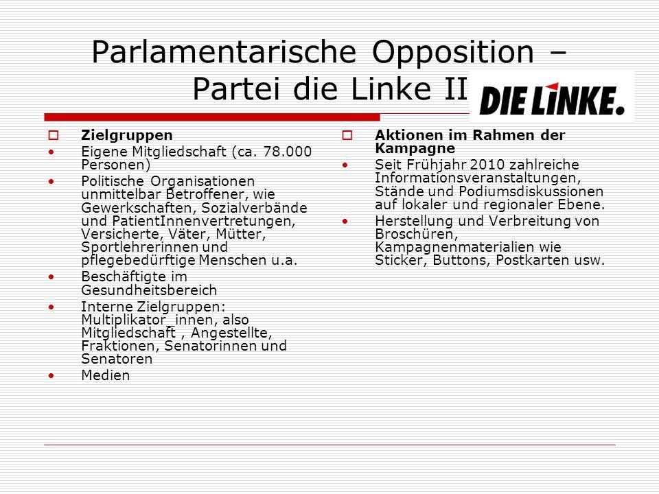 Parlamentarische Opposition – Partei die Linke II Zielgruppen Eigene Mitgliedschaft (ca.