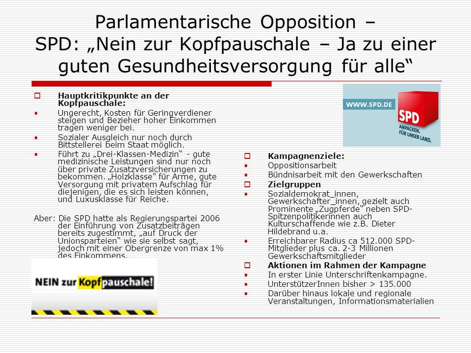 Parlamentarische Opposition – SPD: Nein zur Kopfpauschale – Ja zu einer guten Gesundheitsversorgung für alle Hauptkritikpunkte an der Kopfpauschale: Ungerecht, Kosten für Geringverdiener steigen und Bezieher hoher Einkommen tragen weniger bei.