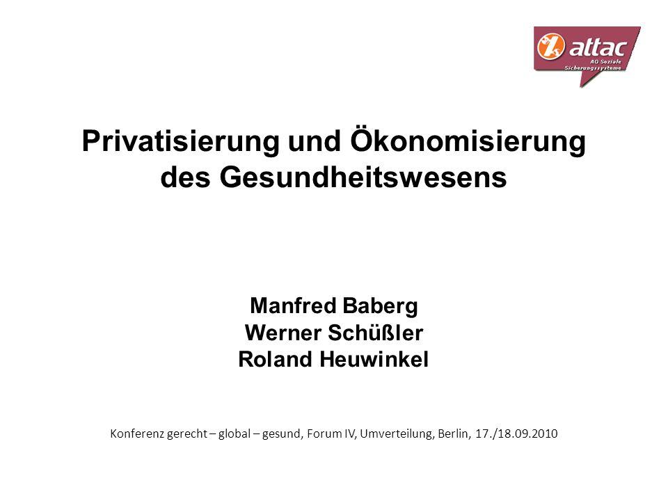 Privatisierung und Ökonomisierung des Gesundheitswesens Manfred Baberg Werner Schüßler Roland Heuwinkel Konferenz gerecht – global – gesund, Forum IV,