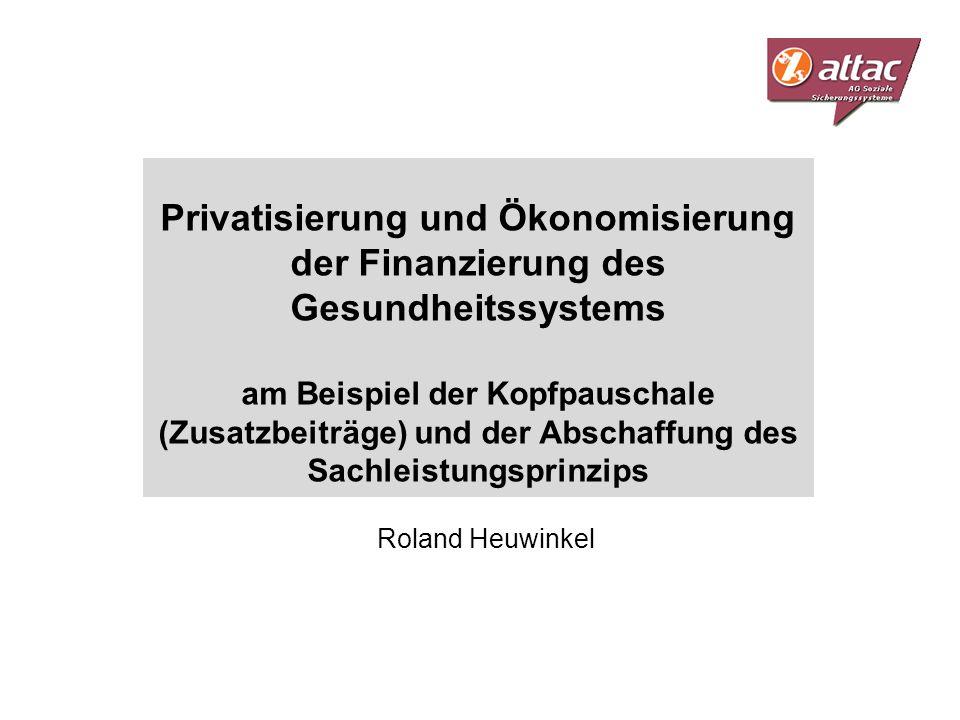 Privatisierung und Ökonomisierung der Finanzierung des Gesundheitssystems am Beispiel der Kopfpauschale (Zusatzbeiträge) und der Abschaffung des Sachl