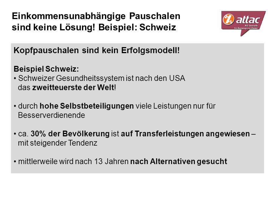Einkommensunabhängige Pauschalen sind keine Lösung! Beispiel: Schweiz Kopfpauschalen sind kein Erfolgsmodell! Beispiel Schweiz: Schweizer Gesundheitss