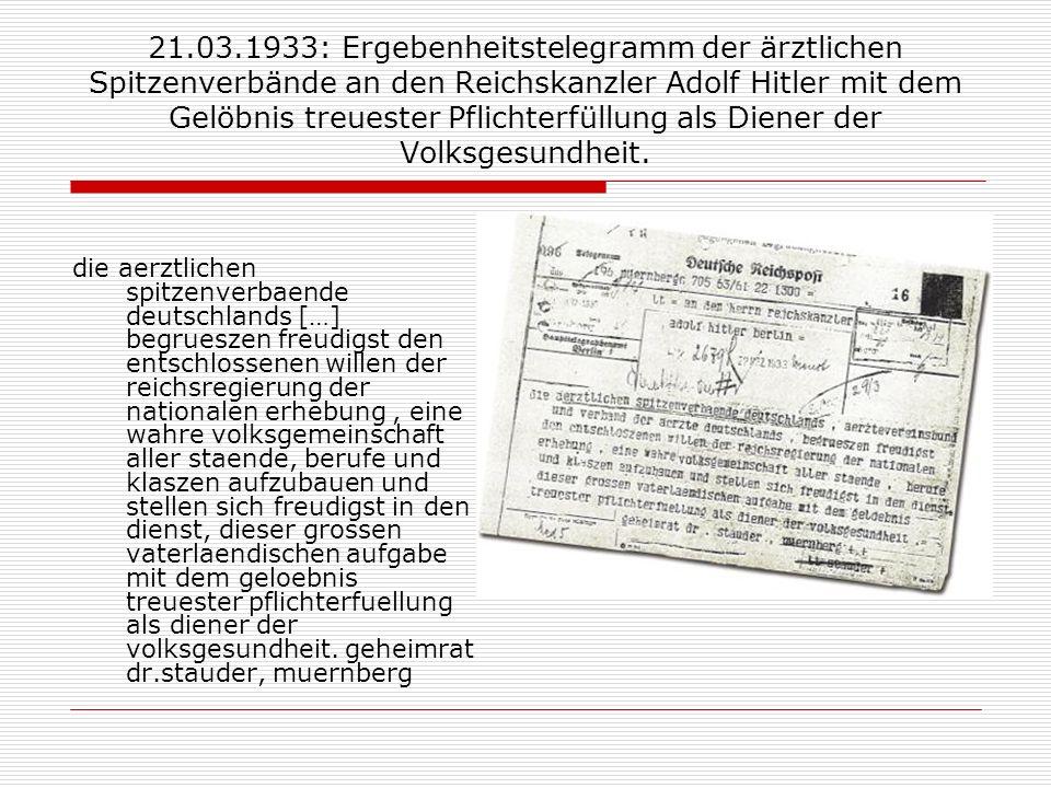 21.03.1933: Ergebenheitstelegramm der ärztlichen Spitzenverbände an den Reichskanzler Adolf Hitler mit dem Gelöbnis treuester Pflichterfüllung als Die