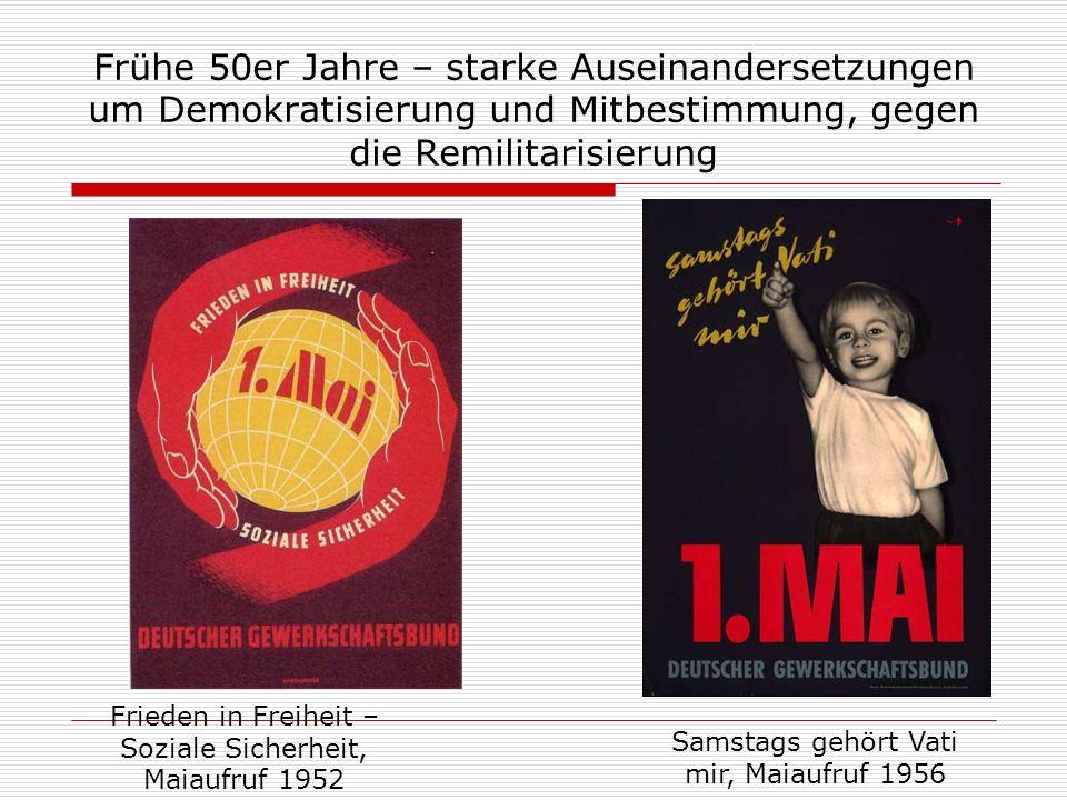 Frühe 50er Jahre – starke Auseinandersetzungen um Demokratisierung und Mitbestimmung, gegen die Remilitarisierung Frieden in Freiheit – Soziale Sicher