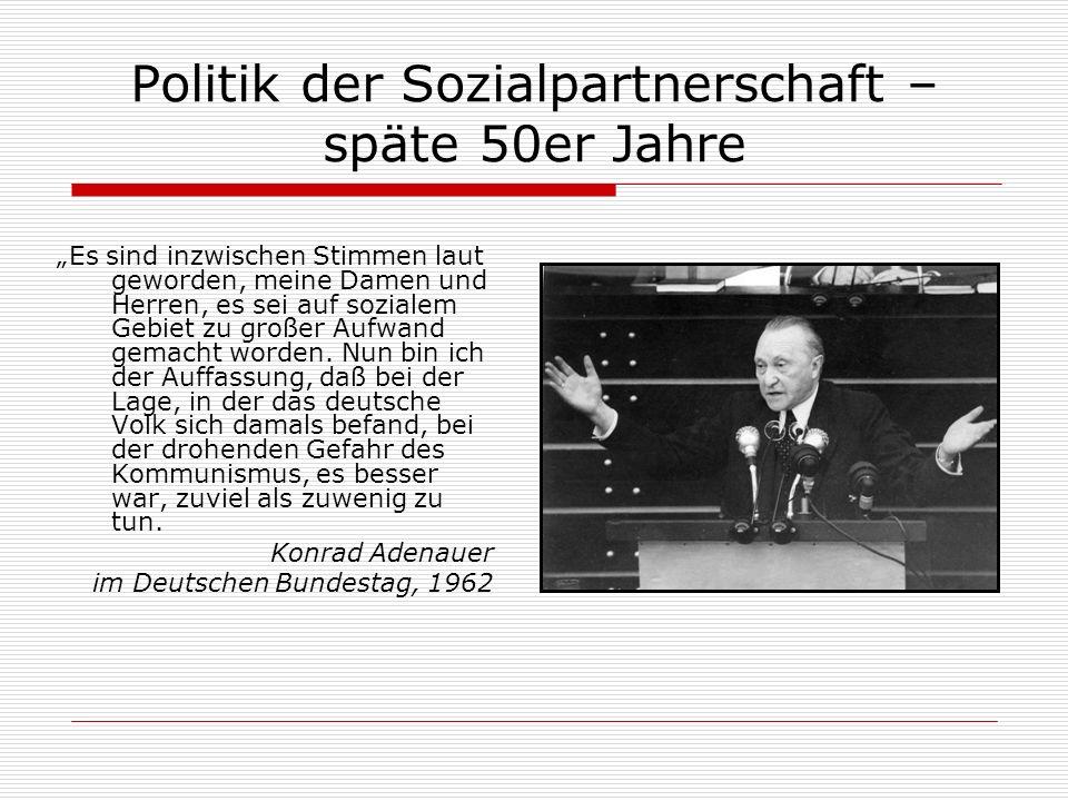 Politik der Sozialpartnerschaft – späte 50er Jahre Es sind inzwischen Stimmen laut geworden, meine Damen und Herren, es sei auf sozialem Gebiet zu gro