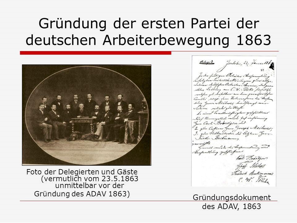 Gründung der ersten Partei der deutschen Arbeiterbewegung 1863 Foto der Delegierten und Gäste (vermutlich vom 23.5.1863 unmittelbar vor der Gründung d
