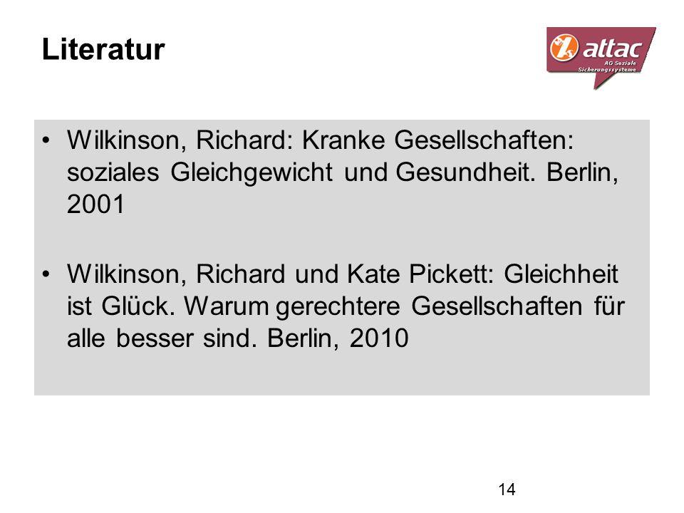 Literatur Wilkinson, Richard: Kranke Gesellschaften: soziales Gleichgewicht und Gesundheit. Berlin, 2001 Wilkinson, Richard und Kate Pickett: Gleichhe