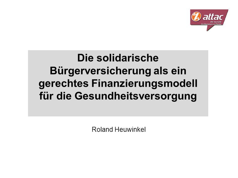 Die solidarische Bürgerversicherung als ein gerechtes Finanzierungsmodell für die Gesundheitsversorgung Roland Heuwinkel