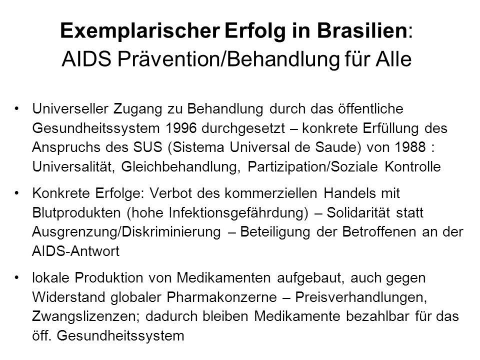 Exemplarischer Erfolg in Brasilien: AIDS Prävention/Behandlung für Alle Universeller Zugang zu Behandlung durch das öffentliche Gesundheitssystem 1996