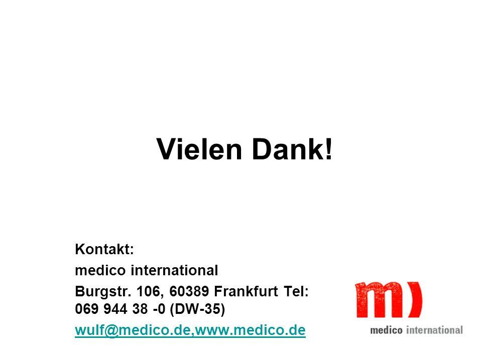 Vielen Dank! Kontakt: medico international Burgstr. 106, 60389 Frankfurt Tel: 069 944 38 -0 (DW-35) wulf@medico.de,www.medico.de