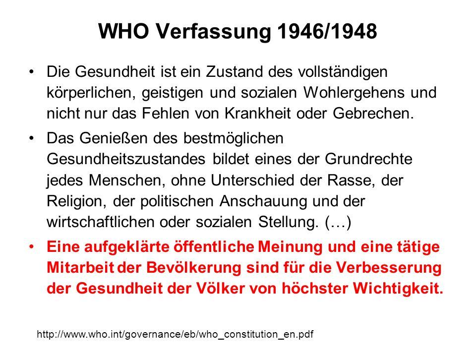 WHO Verfassung 1946/1948 Die Gesundheit ist ein Zustand des vollständigen körperlichen, geistigen und sozialen Wohlergehens und nicht nur das Fehlen v